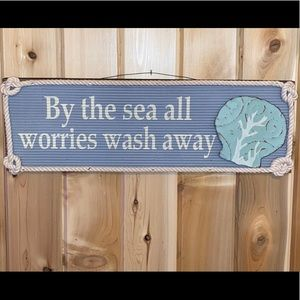 """By The Sea All Worries Wash Away Sign 21""""x7""""x1"""""""